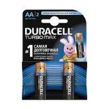 Батарейка Duracell AA (LR6) MX1500 Turbo (пальчиковая d14,5 высота 50,5) щелочная 1,5В (2 шт)