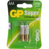 Батарейка GP AAA (LR03/2BL) (полупальчиковая d10,5 высота 44,5) щелочная 1,5В ( 2 шт) SUPER