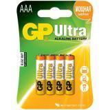 Батарейка GP AAA (LR03/4BL) (полупальчиковая d10,5 высота 44,5) щелочная 1,5В ( 4 шт) ULTRA