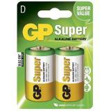 Батарейка GP LR20/2BL (d34.2 высота 61.5 большие) щелочная 1,5В ( 2 шт) SUPER