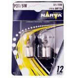 Лампа NARVA  больш. 2 конт. (блистер 2шт)  P21/5W (15d) 12V