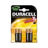 Батарейка Duracell AAA (LR03) MN2400 (полупальчиковая d10,5 высота 44,5) щелочная 1,5В ( 4 шт)