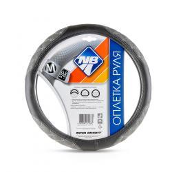 """Оплетка рулевого колеса (M) """"Nova Bright"""" экокожа черная с серыми вставками с белой строчкой - 1"""